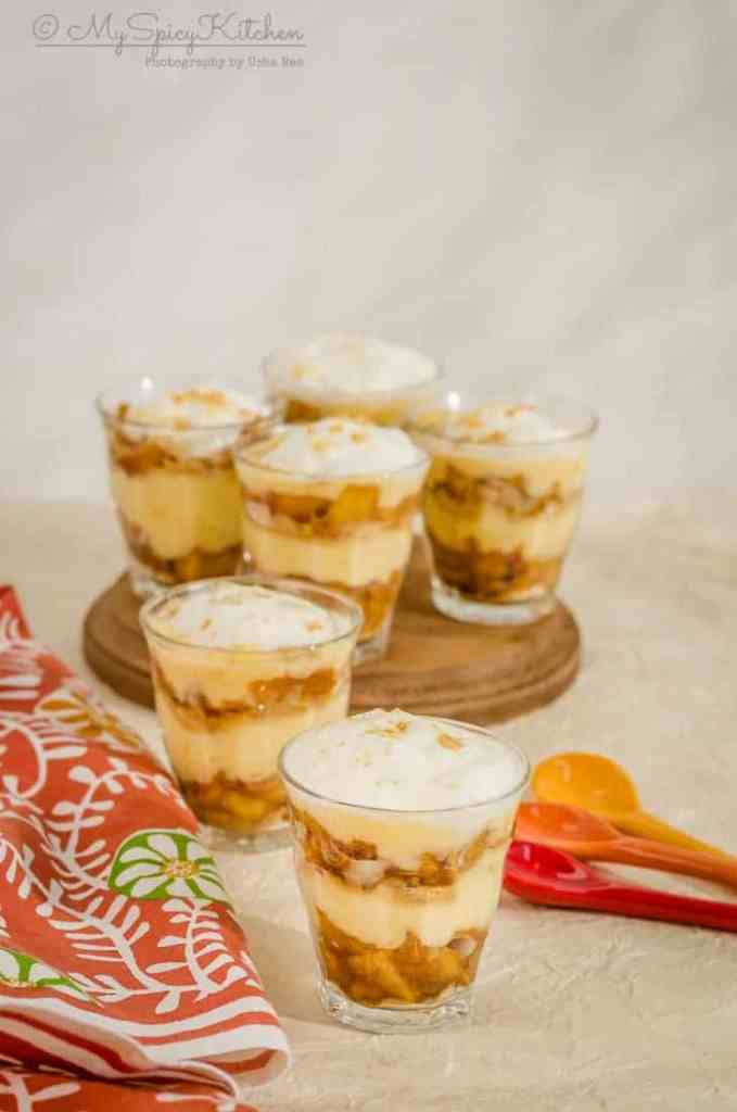 Easy no bake apple trifle pudding in single serving glasses