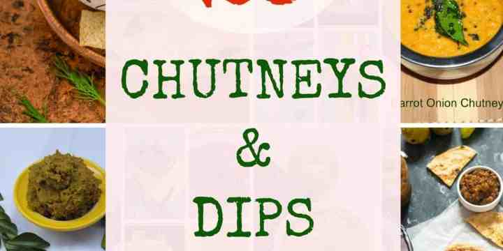 Collage of chutneys and dips