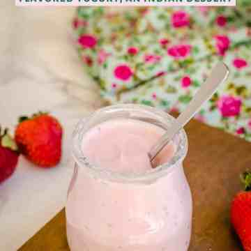 A jar of strawberry shrikhand. Shrikhand is a sweet flavored yogurt, a popular sweet in some parts of India.