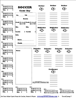 Youth Soccer Coaching Sports Forms