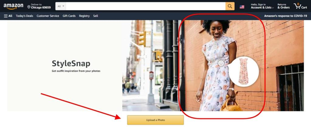 Amazon's StyleSnap feature, allowing to shop via image recognition