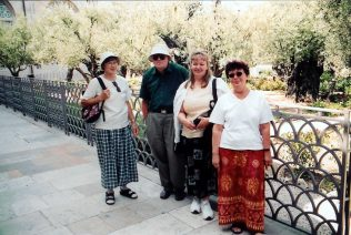 Paivi with her mother (right side) and friends from Finland in the Garden of Gethsemane.