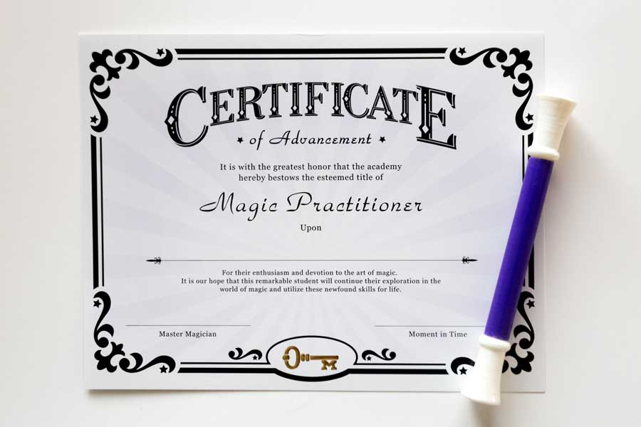 Certificate and commemorative magic wand upon completion