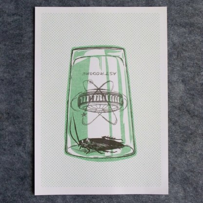 """Roach Trap"" risograph art print illustration showing a cockroach trapped beneath an astrodome pink glass"