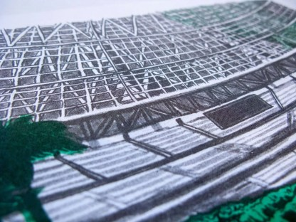 """Dystopian Astrodome"" riso art print detail shot showing halftones from printing"
