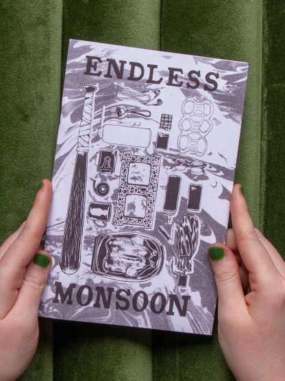"""Endless Monsoon"" risograph zine front cover showing illustrations of various household items, a roasted chicken, umbrella, etc from the comic's narrative"
