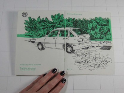 """Cry Me a River II"" risograph zine wrap around cover showing a hatchback, elephant ear foilage, and streetside curb"
