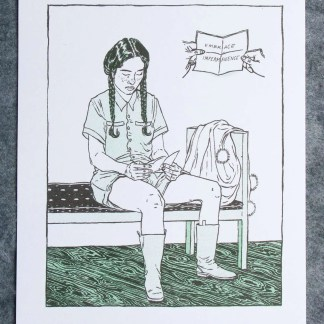 """Embrace Impermanence"" risograph art print showing a young woman sitting at a bench while reading a note that reads ""Embrace Impermanence"""