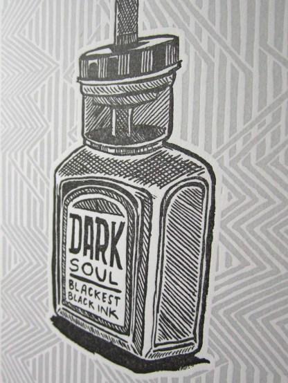"""Dark Soul"" letterpress art print with an illustration of an ink bottle that reads Dark Soul Blackest Black Ink on a lined background"