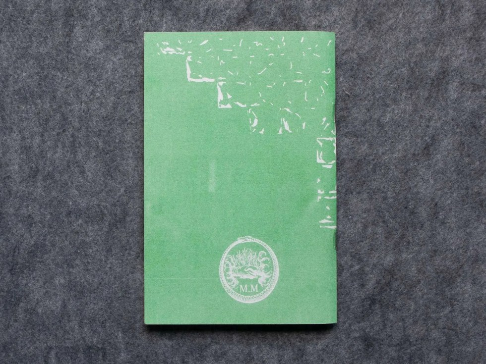 """Only Humid"" risograph zine back cover and mystic multiples logo"