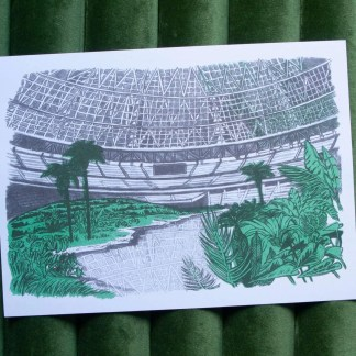 """Dystopian Astrodome"" risograph art print showing the inside of the astro dome overgrown with plants"