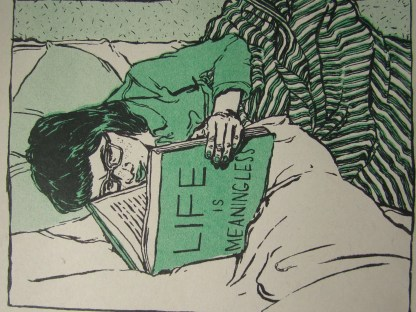 """Morose Reads"" risograph art print detail of an adolescent girl reading a book titled ""Life Is Meaningless"" on a bed"