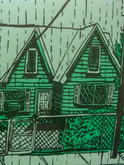 """Sudden Downpour"" riso art print detail of a home's front yard behind a chain link fence"