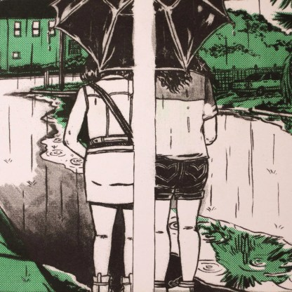 """Umbrella Share"" risograph print zoomed detail showing the two characters sharing an umbrella between comic panels"
