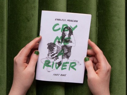"""Cry Me a River"" risograph comic front cover with two women performing a diy haircut"