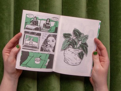 """Cry Me a River"" risograph comic inner detail of a plant in a sack and friends watching tv on the couch"