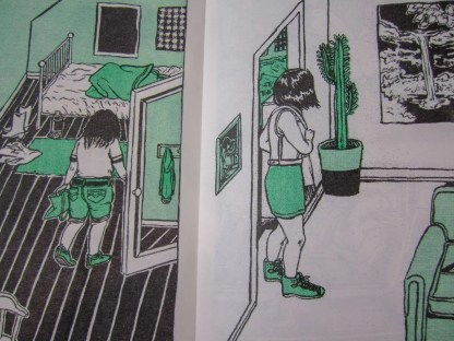 """Cry Me a River"" risograph comic inner detail two different bedroom scenes side by side"