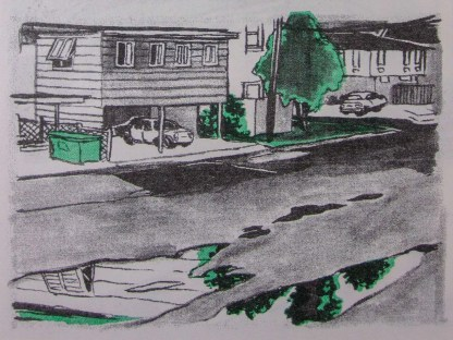 """Cry Me a River"" risograph comic inner detail of streets, duplexs and apartments after rains in Houston"