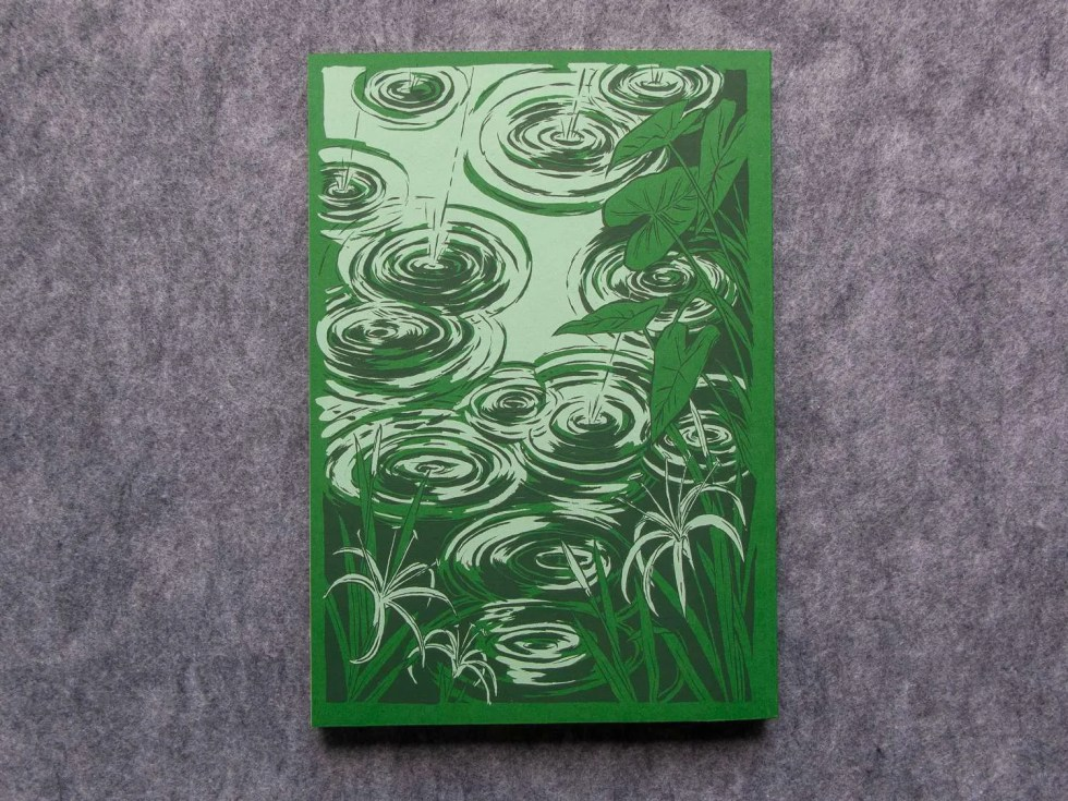 "Endless Monsoon anthology ""Total Monsoon"" back cover detail green with screen printed swamp scene"
