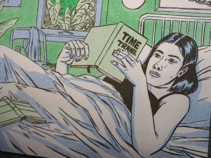 Art of woman reading book on time travel