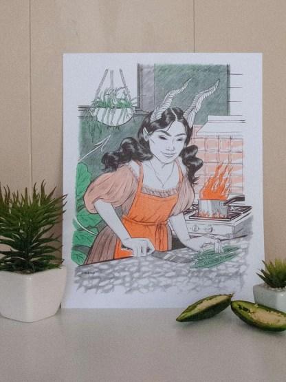 Demon woman cutting jalapeños