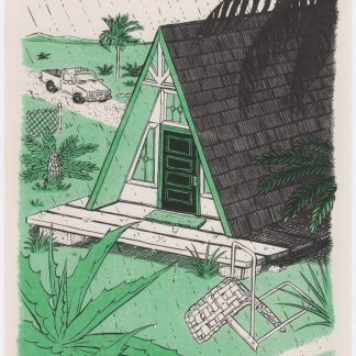A frame house in storm