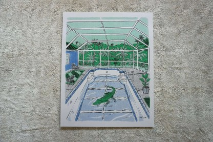 Art of an alligator in a swimming pool