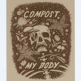 Brown ink on brown paper of a skeleton being composted
