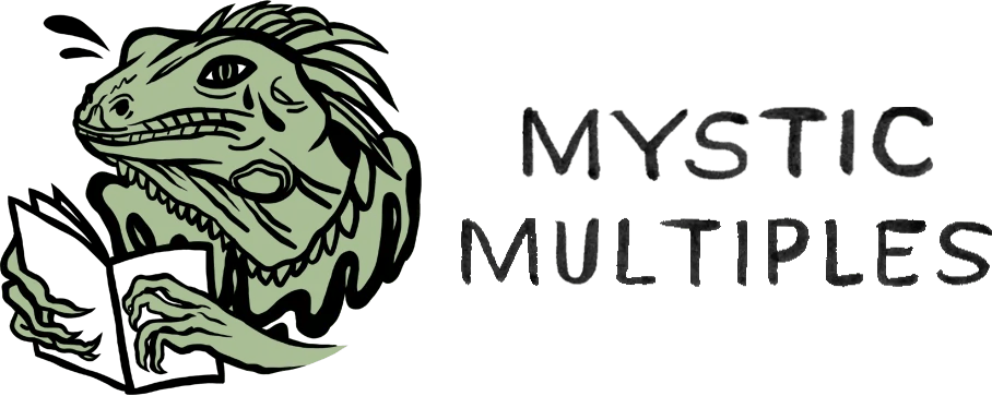 Logo for Mystic Multiples showing an iguana tearing up while reading a book