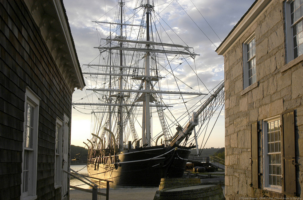 The Charles W. Morgan at Chubb's Wharf, as seen on The Mystic Seaport's website