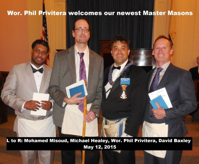 Welcome Newest Master Masons - 5-12-15