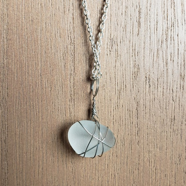 Handcrafted white sea glass necklace