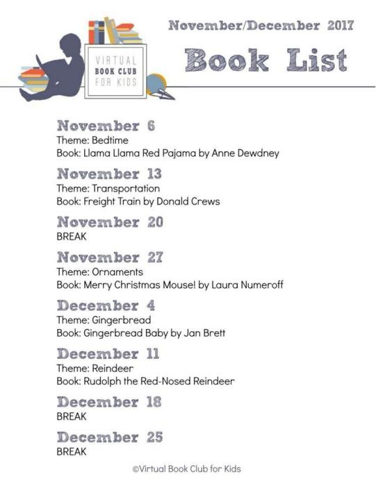 November and December Virtual Book Club for Kids Themes
