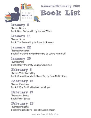 January February Book List for Virtual Book Club for Kids
