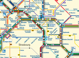 Map Of Strasbourg Downtown Area Tram And Bus SCB