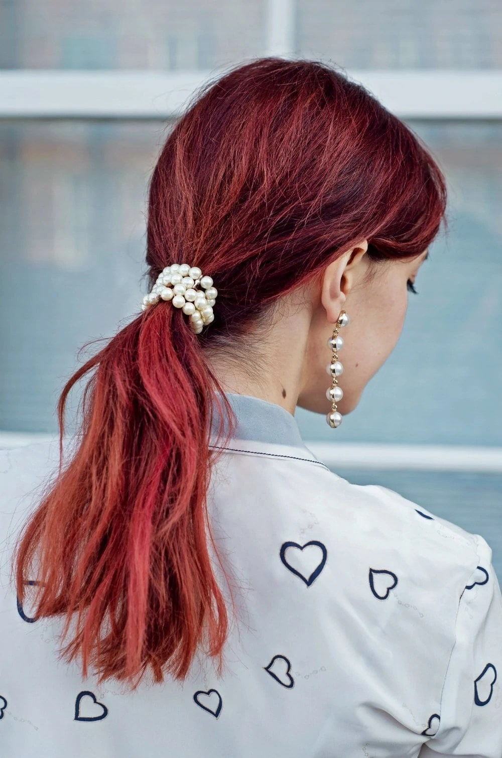 pearl bracelet low ponytail