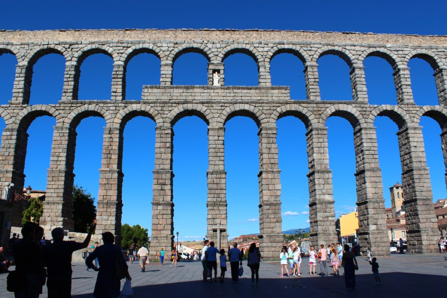 The ancient Roman aqueduct in Segovia.