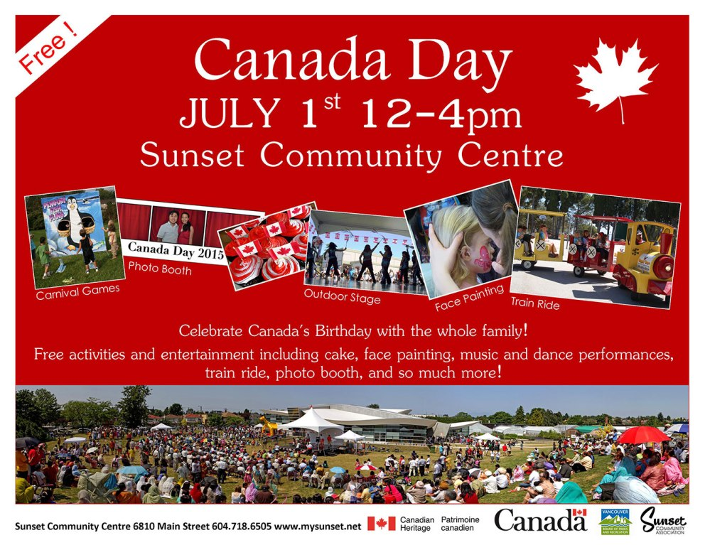 Canaday-Day-Celebrations at Sunset Community Centre July 1 12-4pm. Free activities and entertainment including cake and more