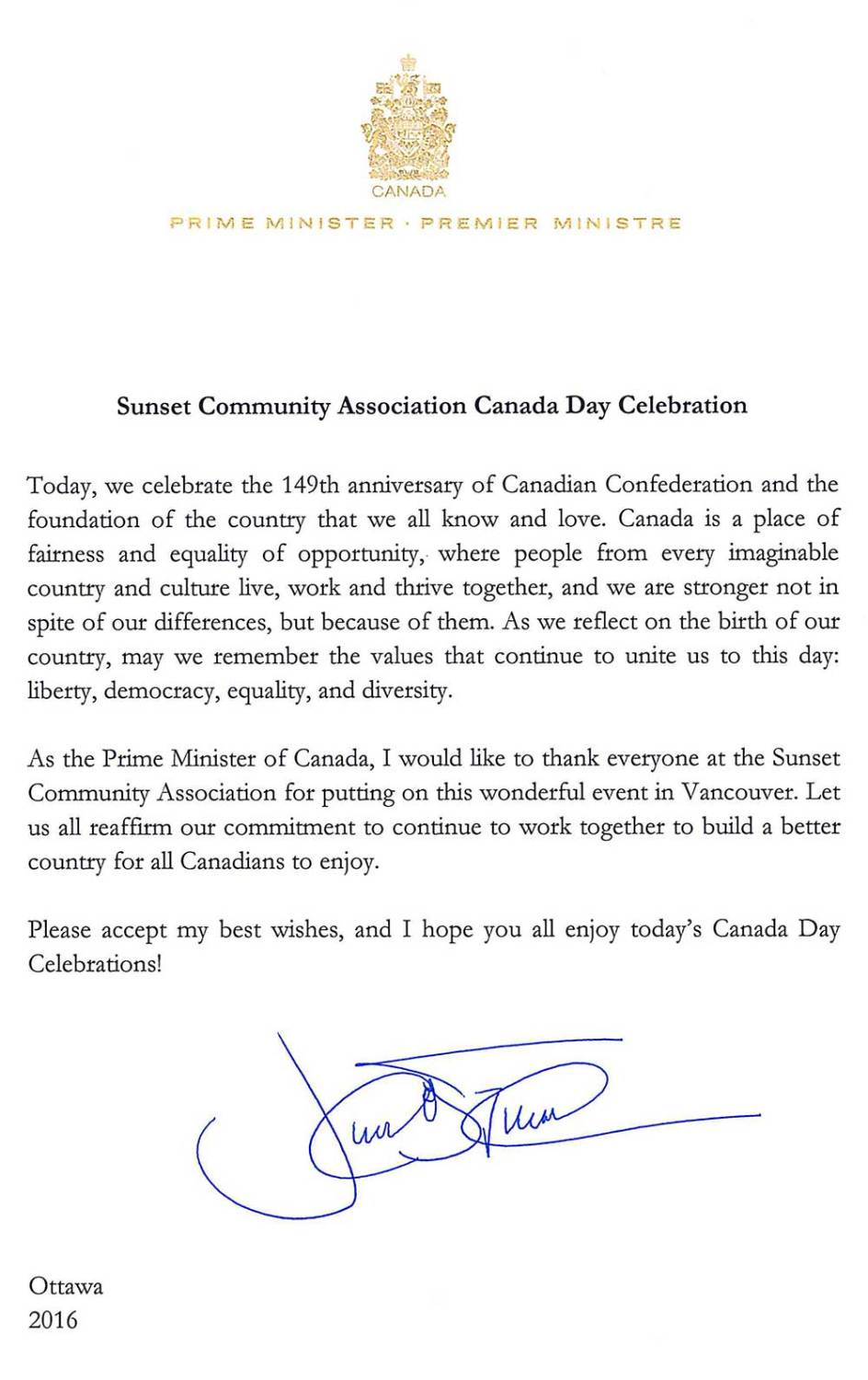 Prime Minister Justin Trudeau Thanks Sunset Community Assocation for Canada Day Celebration Event