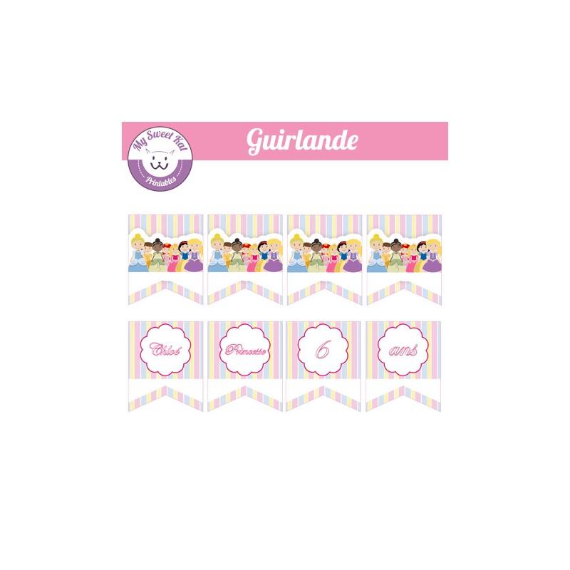 guirlande a imprimer pour une sweet table theme princesse disney