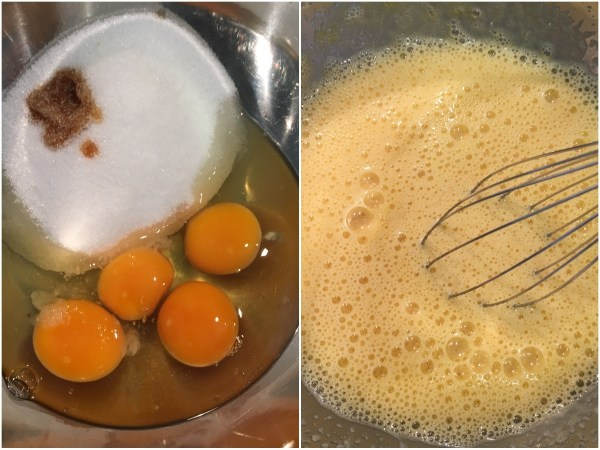 """Using a hand electric mixer, mix together the eggs, <a href=""""http://amzn.to/2sKUGHP"""" target= """"_blank"""">erythritol</a>, vanilla extract, and salt (to taste). Mix for 3 minutes. <i> Btw, salt brings the best out of chocolate in chocolate desserts. </i>"""
