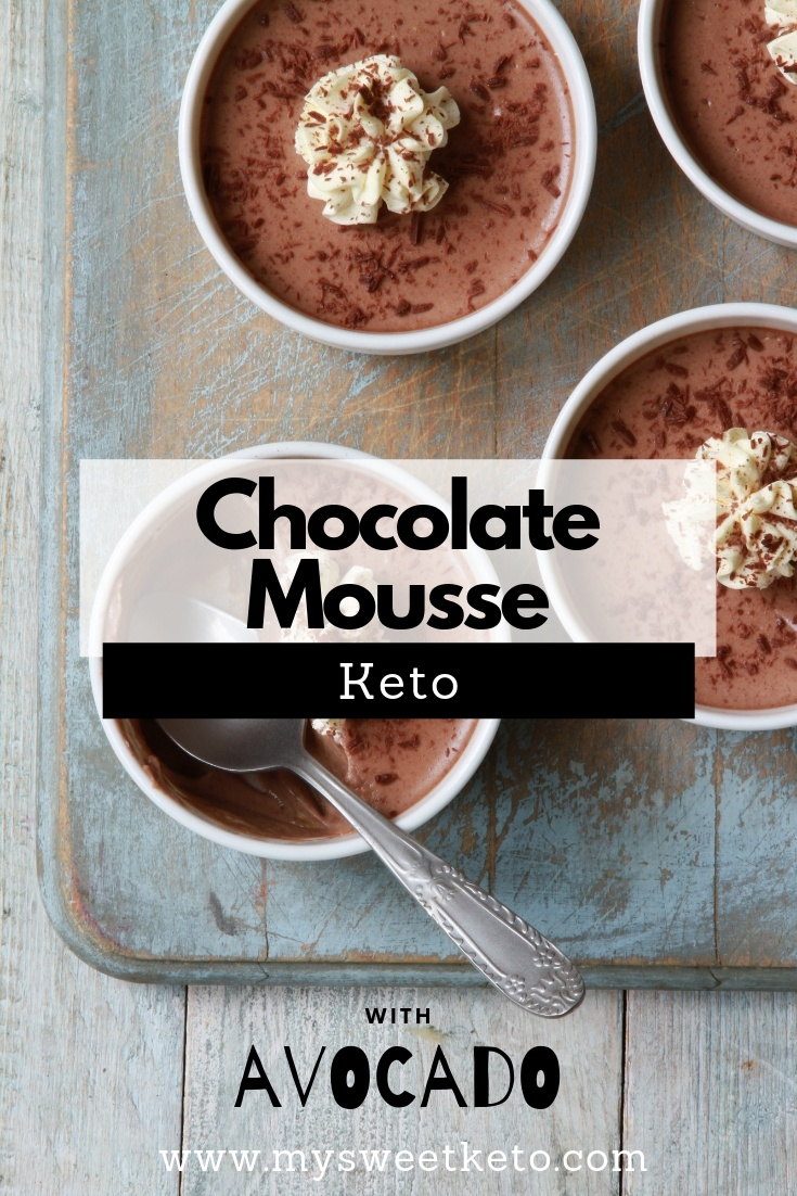Chocolate Mousse Keto. The cocoa will give you the needed energy spike, and avocado with coconut cream will add to the fat intake and the feeling of satiety. #keto #acocado #ketogenic #ketodessert #mousse #chocolate