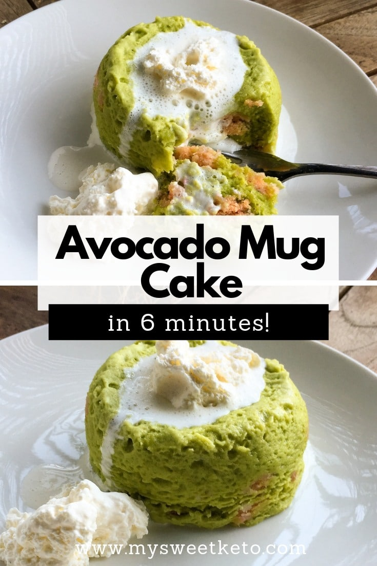 Avocado mug cake in 6 minutes recipe. Most of us, keto and low-carb loving people, like to snack on simple and quickly prepared stuff. Keto Avocado Mug Cake is a great solution. #mugcake #keto #ketogenic #recipe #ketodessert