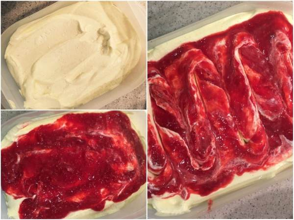 Transfer half of the vanilla ice cream to a pan than can be sealed. Pour half of the raspberry sauce onto the first layer, and make swirls with a knife or a spoon. Add the rest of the ice cream on top and pour the rest of the raspberry sauce on it. Make the swirls.