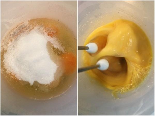 Using an electric mixer, mix together 5 eggs, 1 tbsp. psyllium husks, eryhtritol, and baking powder.