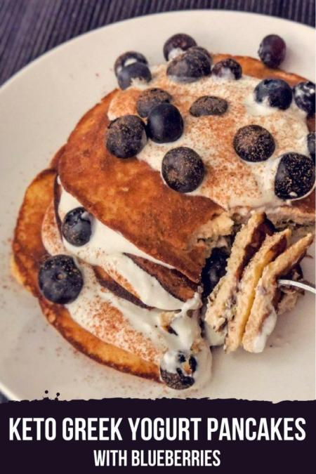 These keto pancakes with greek yogurt will become your family's favorite breakfast. Just 1.5g of net carbs! #lowcarb #keto