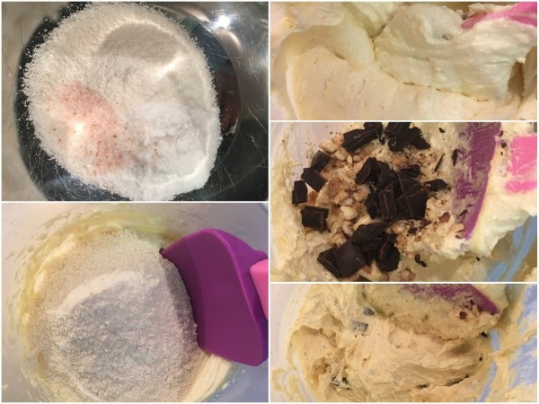 """Sieve and mix the <a href=""""http://amzn.to/2tFqR7t"""" target=""""_blank"""">two flours</a>, baking soda, and salt. Add this flour mixture to the cream and combine well with a <a href=""""http://amzn.to/2uIhMj3"""" target=""""_blank"""">rubber spatula</a>. Add the chopped <a href=""""http://amzn.to/2tFuzht"""" target=""""_blank"""">chocolate</a> and stir well again."""