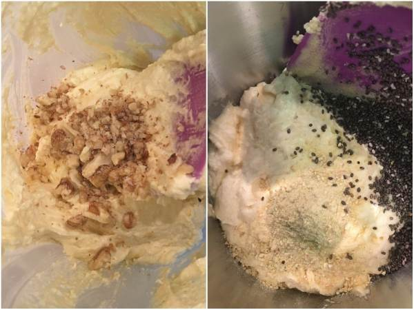 Optional: You can add 2 tablespoons of ground walnuts (or any nuts) or chia seeds (suggestion: add a tsp. of lemon zest as well). Either add them to the chopped chocolate or use solo. Combine using a spatula.