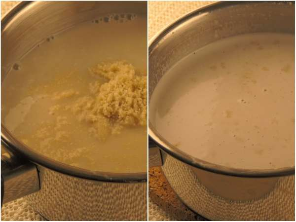 "In a medium pot, whisk together <a href=""http://amzn.to/2r1BT6L"" target = ""_blank"">almond milk</a>, <a href=""http://amzn.to/2q5LOs3"" target = ""_blank"">coconut milk</a>, <a href=""http://amzn.to/2r1LcU7"" target = ""_blank"">erythritol</a>, and ground <a href=""http://amzn.to/2q60zeu"" target = ""_blank"">almonds</a>. Bring to boil slowly and whisk until <a href=""http://amzn.to/2r1LcU7"" target = ""_blank"">erythritol</a> dissolves. Set aside."