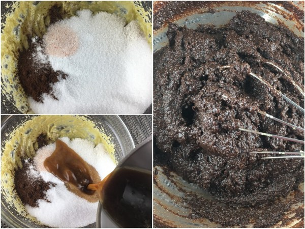"Add <a href=""http://amzn.to/2rGeJpq"" target=""_blank"">coconut flour</a>, <a href=""http://amzn.to/2s7gexz"" target=""_blank"">cocoa powder</a>, <a href=""http://amzn.to/2rTnz3R"" target=""_blank"">erythritol</a>, <a href=""http://amzn.to/2rGGCgV"" target=""_blank"">stevia extract</a>, baking soda, and salt. Dissolve <a href=""http://amzn.to/2s6Z03k"" target=""_blank"">instant coffee</a> in hot water. Pour it into the cupcake mixture and mix well."